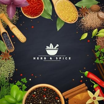 Bella cornice con bordi di erbe da cucina e placer spezie in piatti di legno