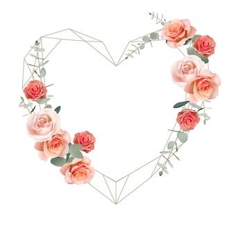 Bella cornice d'amore con rose floreali arancioni e foglie di eucalipto