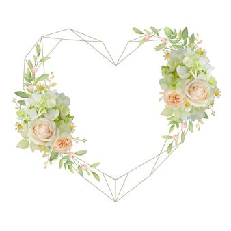 Bella cornice d'amore con rose floreali e ortensie