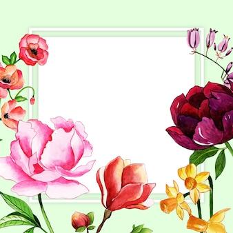 Bella cornice floreale ad acquerello