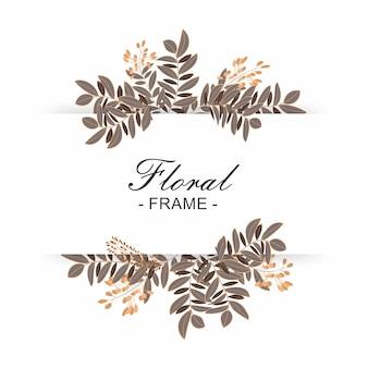 Bella cornice floreale con sfondo bianco