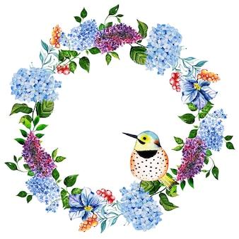 Bella cornice floreale dell'acquerello con uccelli