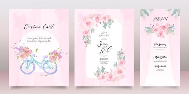 Bella cornice floreale di fiori di auguri in stile acquerello.