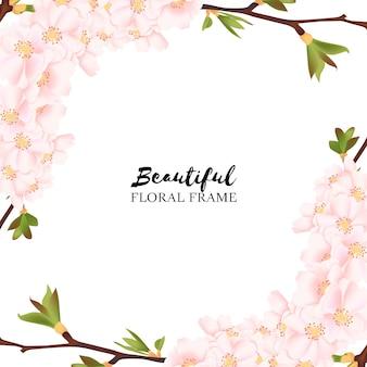 Bella cornice floreale di fiori di ciliegio