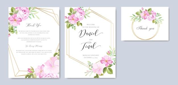 Bella cornice floreale e foglie e modello di sfondo di nozze