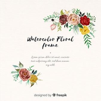 Bella cornice floreale in acquerello design