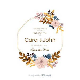 Bella cornice floreale invito a nozze in design piatto