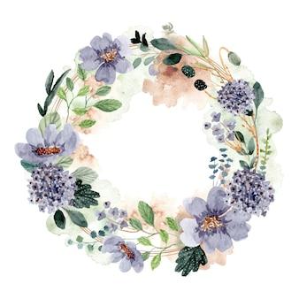 Bella corona dell'acquerello floreale verde blu