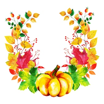 Bella corona di foglie d'autunno dell'acquerello
