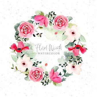 Bella corona floreale dell'acquerello verde rosa