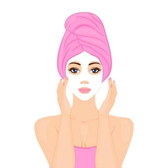 Bella donna con maschera facciale e avvolgimento testa asciugamano. home spa, rituale di bellezza