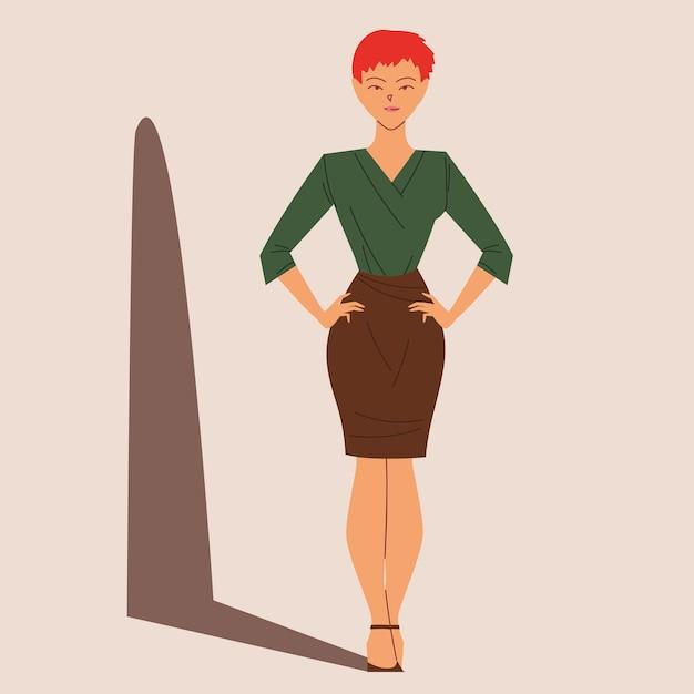 Bella donna d'affari, donna d'affari con i capelli corti