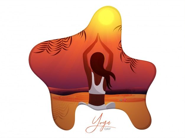 Bella donna facendo yoga per la giornata internazionale di yoga