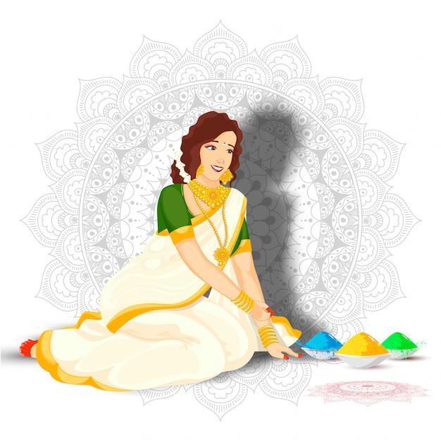 Bella donna indiana nella posa di seduta con le ciotole di colore sul fondo del modello della mandala.