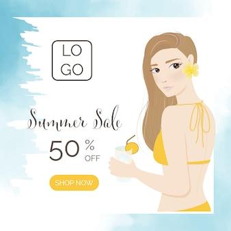 Bella donna nell'insegna arancio di media sociali di estate del ritratto dello swimwear