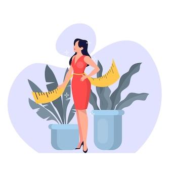Bella donna sottile in vestito rosso con nastro adesivo di misurazione in vita. idea di perdita di peso e vita sana. illustrazione