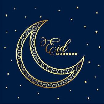 Bella eid decorativo dorato luna e stelle sullo sfondo