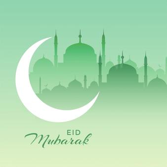Bella eid mubarak scena della moschea con falce di luna