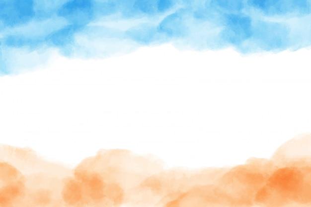 Bella estate oceano, spiaggia di sabbia e onda sfondo acquerello
