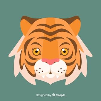 Bella faccia da tigre con design piatto