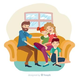 Bella famiglia a casa con un design piatto