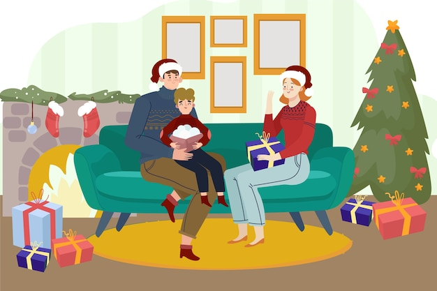 Bella famiglia con albero di natale e camino
