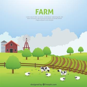 Bella fattoria paesaggio con gli animali