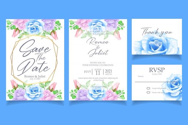 Bella festa di matrimonio floreale dell'acquerello dell'invito