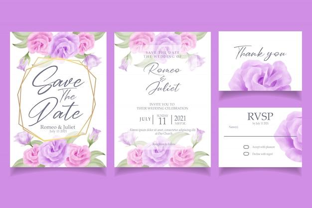 Bella festa nuziale dell'invito dell'acquerello del fiore della rosa di rosa
