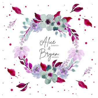 Bella ghirlanda floreale ad acquerello