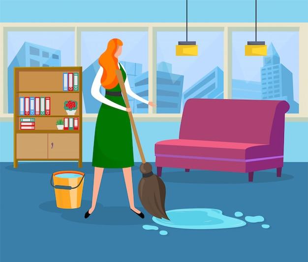 Bella giovane donna che fa pulizia bagnata a casa.