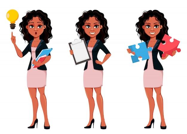 Bella giovane donna d'affari afroamericana