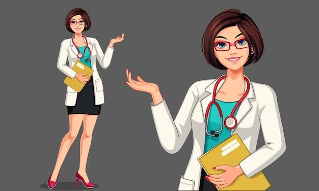 Bella giovane donna medico con lo stetoscopio e l'illustrazione del grembiule