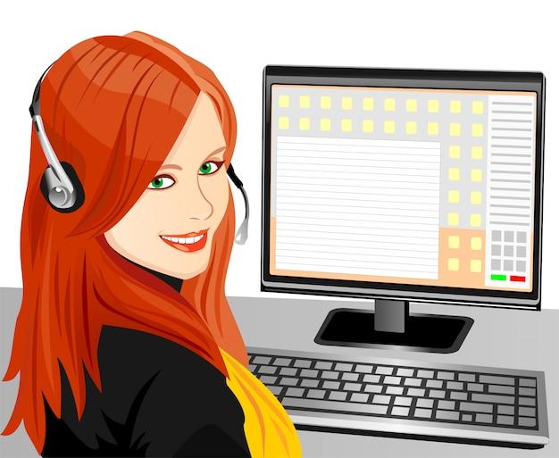 Bella giovane ragazza marrone operatore telefonico in cuffia sul posto di lavoro