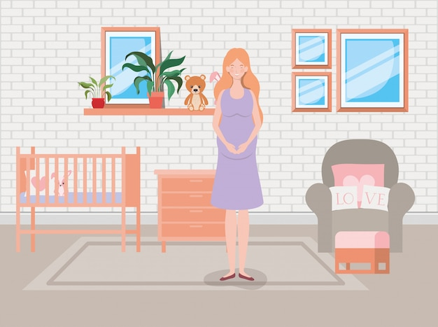 Bella gravidanza della donna nella scena della camera da letto del bambino