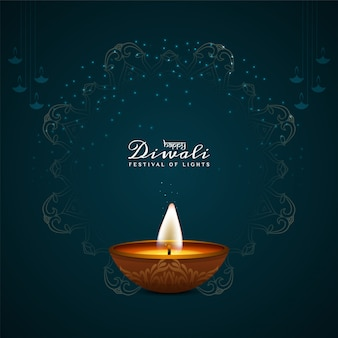 Bella happy diwali decorativa con lampada a olio