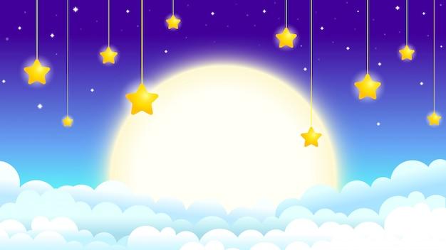 Bella illustrazione del cielo notturno con la luna e le stelle, la luna tra le nuvole con pendenti stelle