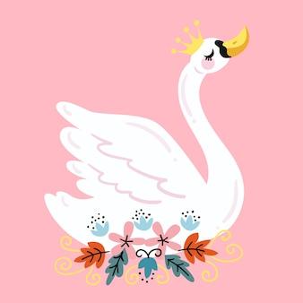 Bella illustrazione del cigno bianco