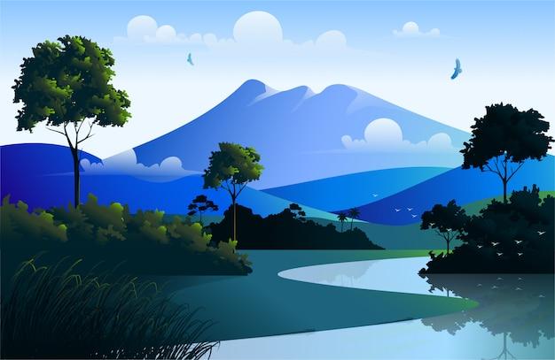 Bella illustrazione del paesaggio della natura