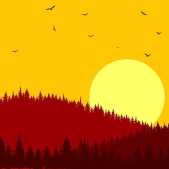 Bella illustrazione delle foreste di pini