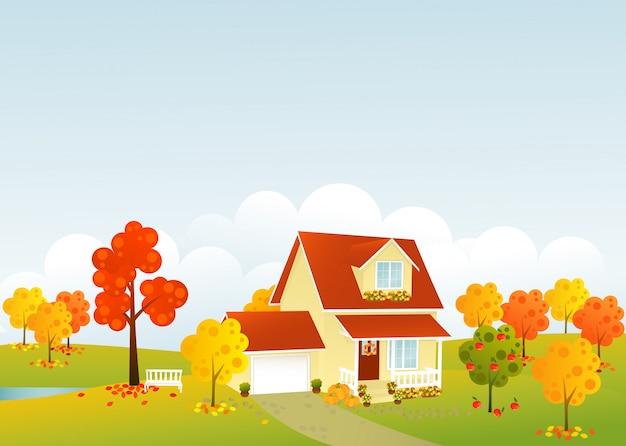 Bella illustrazione di casa d'autunno