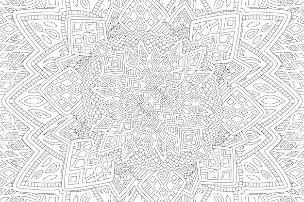 Bella illustrazione lineare monocromatica per la pagina del libro da colorare con il modello senza cuciture astratto