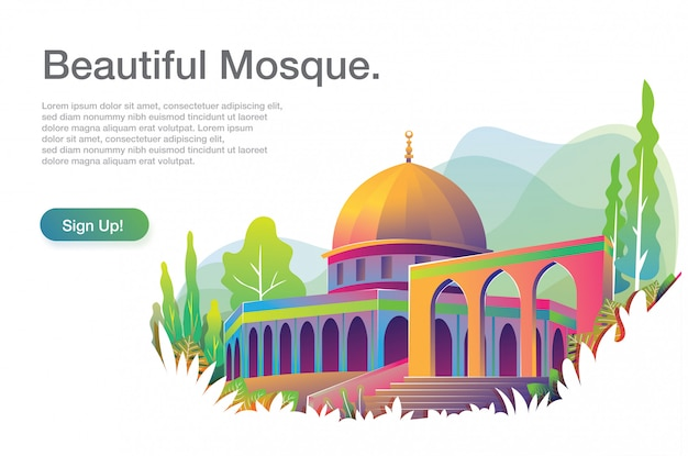 Bella illustrazione moschea con modello di testo