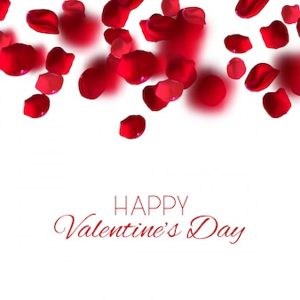 Bella illustrazione premium di congratulazioni per il giorno di san valentino. caduta realistica di petali di rosa. illustrazione vettoriale