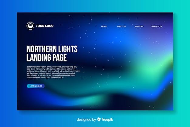 Bella landing page dell'aurora boreale