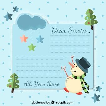 Bella lettera per babbo natale con pupazzo di neve