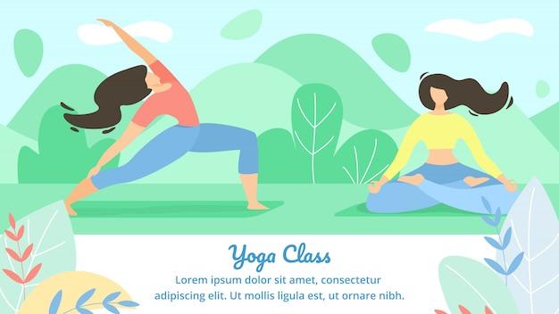 Bella lezione di yoga di iscrizione piatta