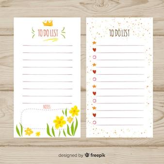Bella lista disegnata a mano per fare collezione