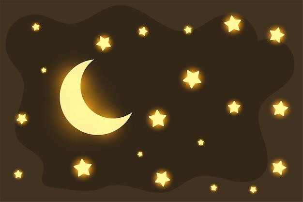 Bella luna incandescente e stelle sfondo sognante