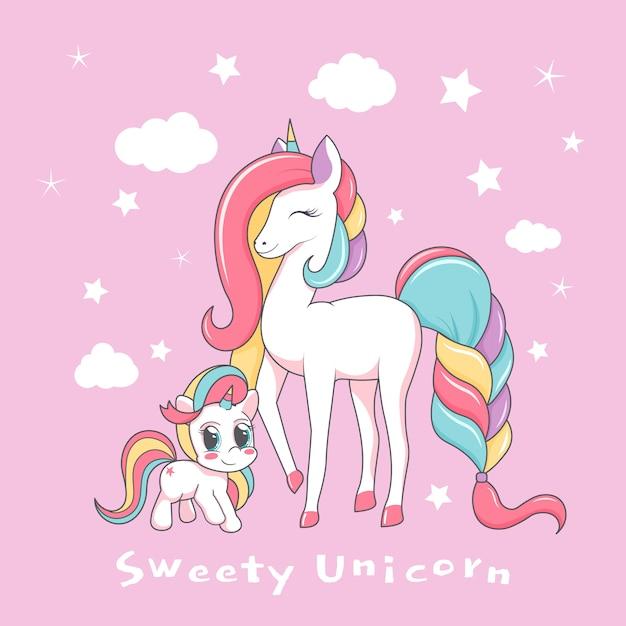 Bella madre unicorno con bambino e la scritta dolcezza unicorno